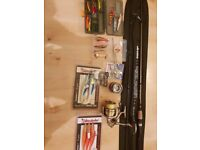 "OKUMA SPINNING ROD 228cm 7' 4"" plus reels"