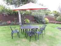 Aluminium Garden Set - 6 Chairs, Table and Parasol