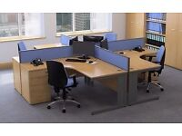 Jemini Pod of 4 Office Workstation & 4 Pedestals & Dividers - FREE DELIVERY & FREE ASSEMBLING