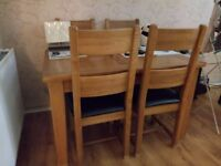 New Real Oak dining table&real oak/leather chairs with side table
