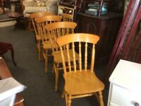 Set of 4 country pine dining chairs