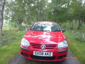 VW Golf FSI S 5 door hatchback 2008 in very good condition red colour