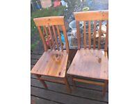 pine chairs x2