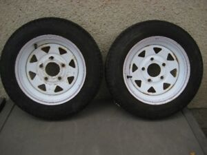 2  12 inch 5 bolt Trailer Rims and Tires