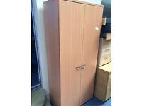 2 Door Wooden Stationary Storage Cupboards Beech