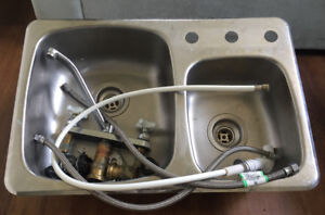 "Double Kitchen Sink With Tap 27 1/4"" x 18"""