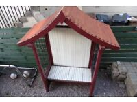 LARGE GARDEN SEAT WITH METAL SCROLLING