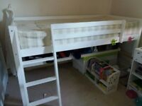 white bunk bed for one child