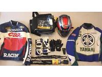 Motorcycle Bundle, Motorbike jackets, helmet, tank bag, chain+lock, gloves, footpad & elastic net