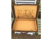 Pair of Vintage Leather Suitcases Shabby Chic
