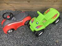 Kids ride on car and little tikes bike
