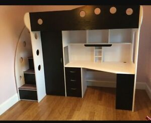 LOFT/BUNK BED AND DESK - BLACK AND WHITE