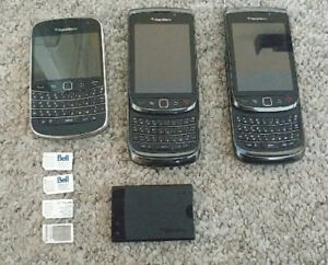 (3) Blackberry Cell Phones