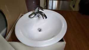 lavatory sink, faucet and drain