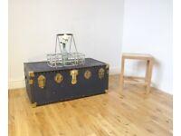 Vintage Metal-bound Steamer Trunk / Coffee Table / Storage Chest