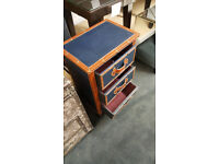 3 drawer cabinet blue and tan leather