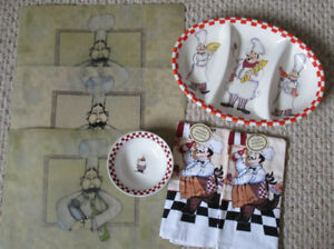 Kitchen Chef dish, towels, place mats Fun Italian Pasta