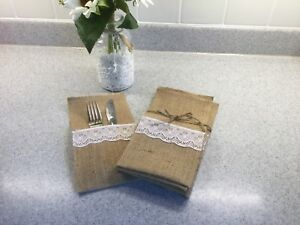 Burlap cutlery holders. Set of 8 $20 each set. 5 sets available