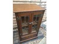 Charming oak antique display cabinet/media unit