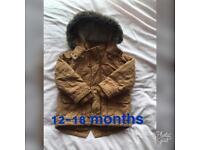Boys winter coat with detachable fur 12-18 months