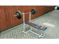 Bench press and 70kg cast iron weights solid barbell