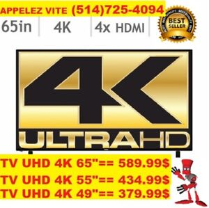 WOW RABAIS INCROYABLE TV 42P 249$/ 65P 4K 599$ /55P 4K 438$