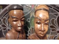 """2 african figures very heavy 12"""" tall"""