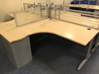Fantastic Condition Radial Desks, with screens, pedestals & monitor arms - ONLY £75!!!