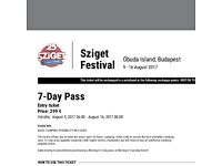 7 DAY SZIGET festival ticket/camping plus 13 day city pass