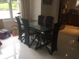 Table and 6 chairs with matching shelf and lamp