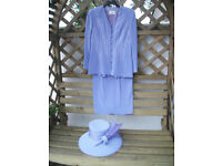 Mother of Bride Lilac Suit and Hat size 12 TOM BOWKER for COTERIE