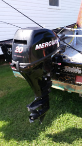 2014 Wooden Boat/Trailer with Mercury 20hp outboard