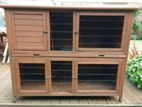 5ft Double Hutch for Rabbits / Guinea Pigs + 1 cover & 1 Thermal cover & Fly Screen
