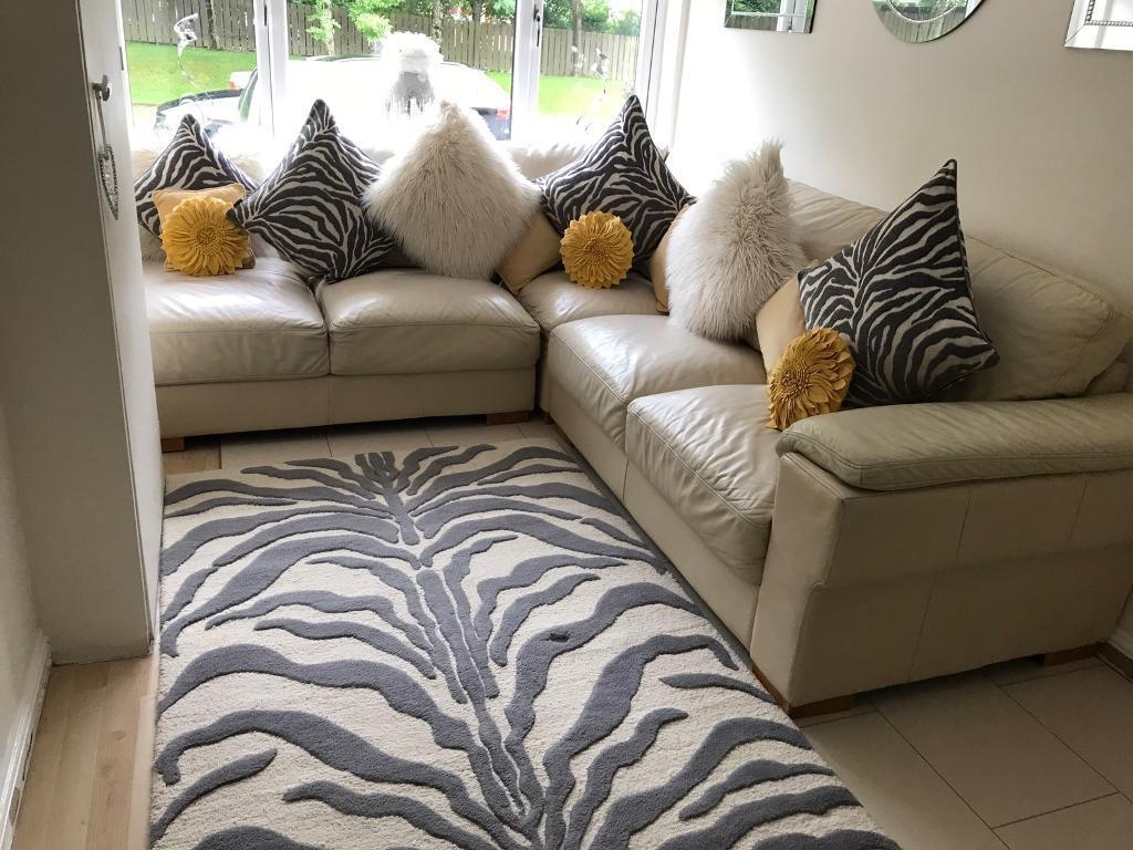 Cream Leather Sofa With Matching Cushions Rug