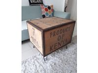 Industrial coffee table upcycled from vintage tea box