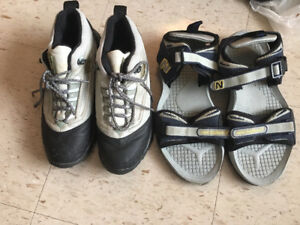 Men running shoes size 8 and sandals size 10