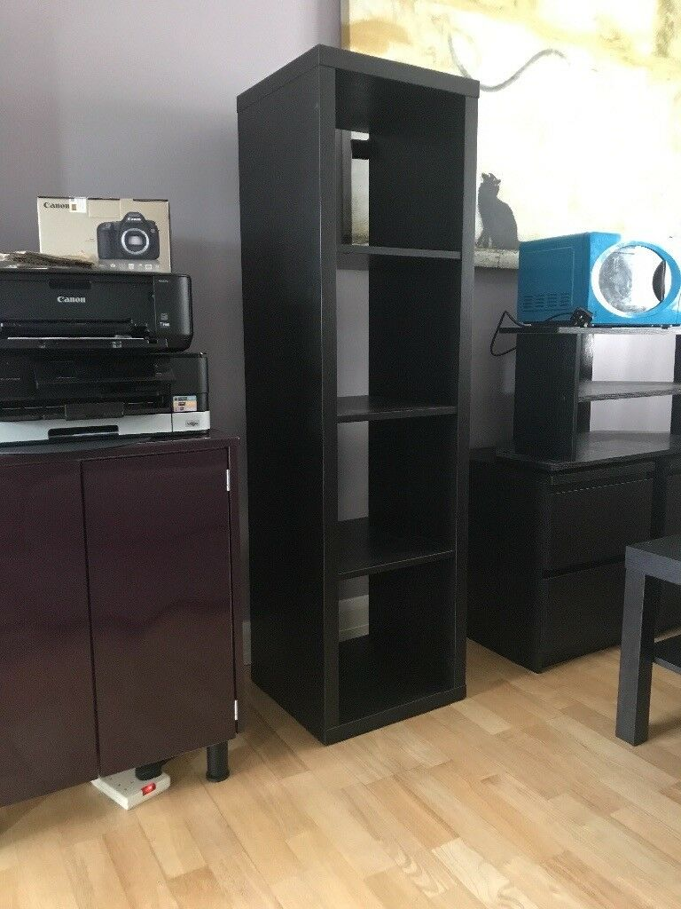 Assembled Ikea shelving unitin Newtownards, County DownGumtree - NO TEXTS PLEASE Brown/ Black wood grain shelving unit in good order. 140x40x40cm
