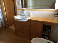 Basin with Solid Oak Vanity Unit