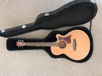 Tanglewood TW45OPE electro acoustic guitar with fender strap stag hard cas