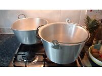 Two traditional aluminium jam / maslin pans for sale