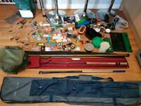 Joblot of fishing tackle. Bait hooks rods poles holdall bags new used