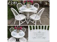 Round Dining Table & 4 Chairs ~ White Shabby Chic ~ Vintage