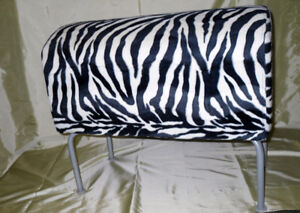 Zebra pattern material covered stool with legs