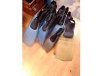 ELEVEN PAIRS OF DIVING / SNORKELLING FINS