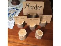 Hand crafted yew table place name markers, ideal for wedding, x 81
