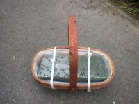 A BEAUTIFUL LITTLE TRUG PLANTER 10X5 INCHES WITH OASIS AND WATER FEEDER