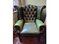 Green Leather Queen Anne Wingback Chair.