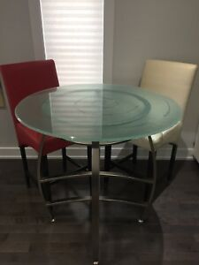 Beautiful modern glass dining table