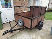 "wooden car trailer 5+4 ""drop tail gate very good condition looked after"