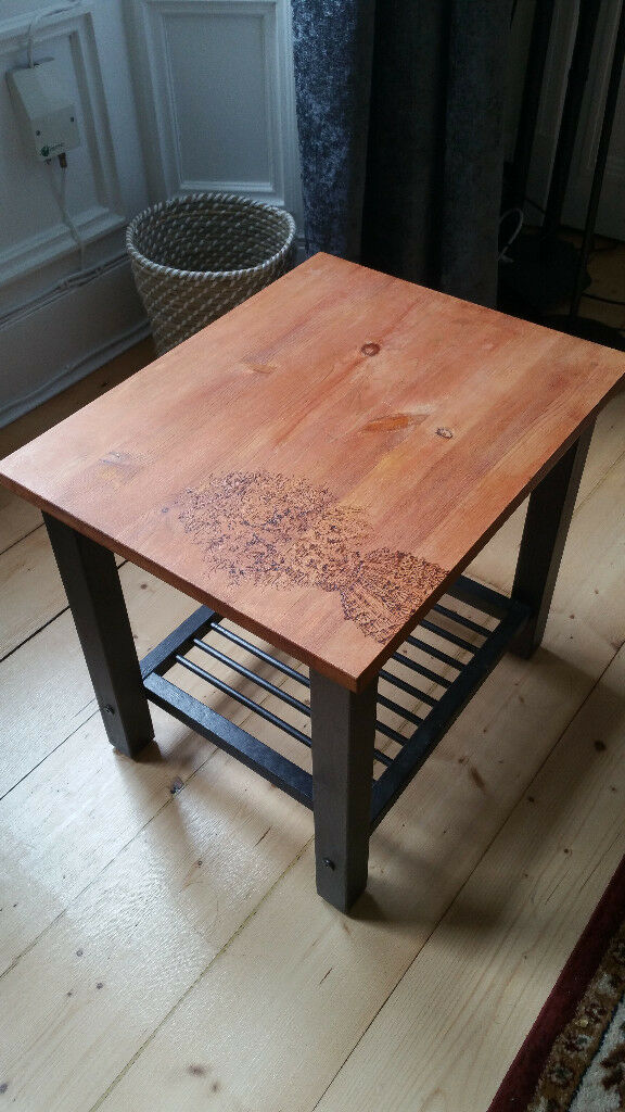 Unique Side Table featuring Hand-Decorated Pyrography Artwork